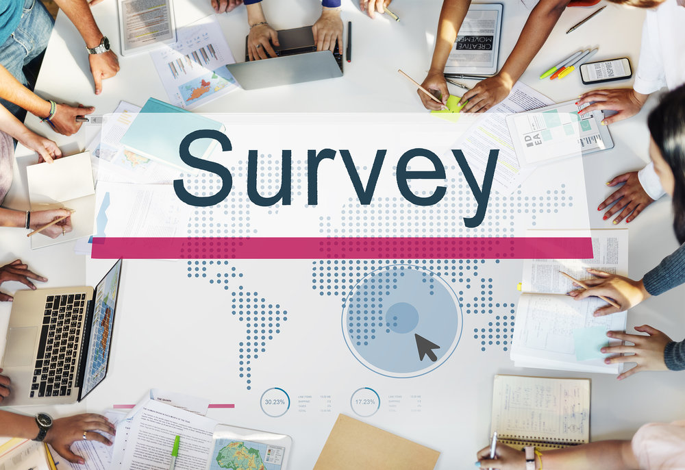 A team of professionals analyzes a customer service survey.