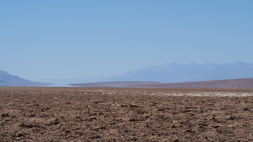 Ground-level view of Badwater Basin in Death Valley, California.