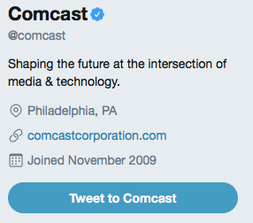 Screenshot of Comcast corporate Twitter profile.