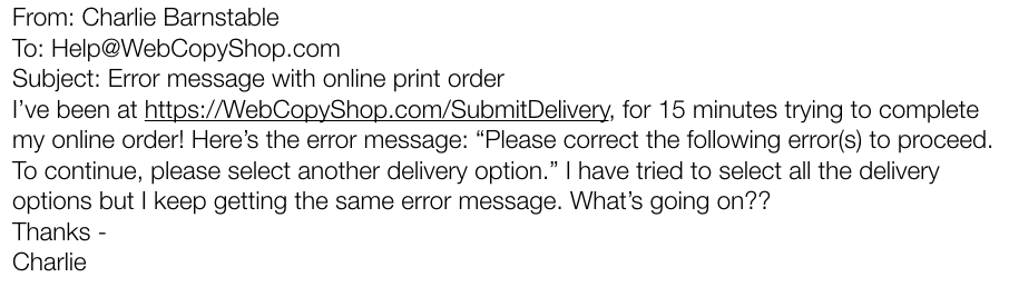 sample customer email