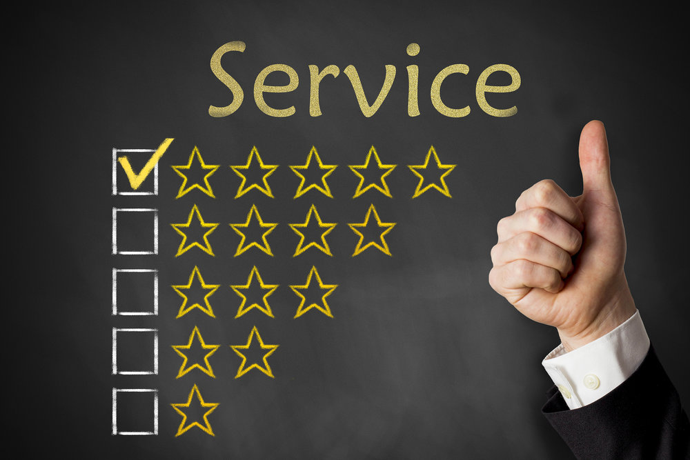 Customer giving a thumbs up and a five star rating on a survey.