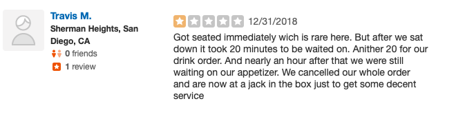 One-star Yelp rating.