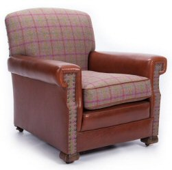 Leather and Check armchair