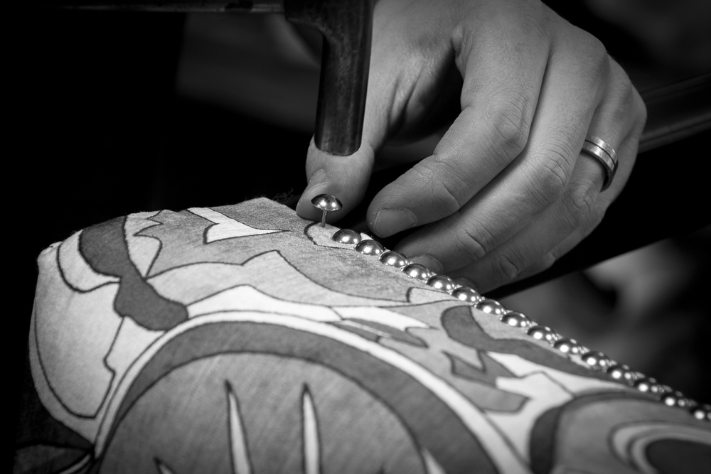 Each decorative nail is meticulously hand finished