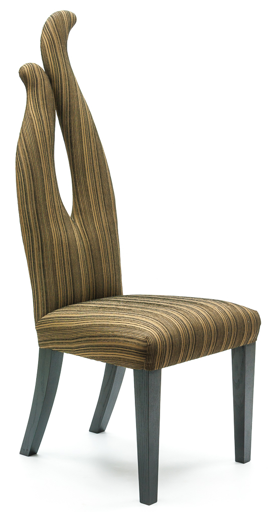 In March we launched the new Partney Chair The Partney is a versatile dining or side chair suitable for formal dining, as a bedroom chair or a striking side chair. The fully upholstered seat and sweeping, sculptured back create a bold and contemporary style statement. With its fluid, natural lines, each Partney chair is individually crafted with an Ash frame. The elegant tapered legs can be stained to customer's specification. Trims can also be added as requested such as nailing and piping. Seat dimensions can also be changed to suit different shapes and sizes. Partney Chair 500W x 630D x 1360h x 490 seat height From £495 + material