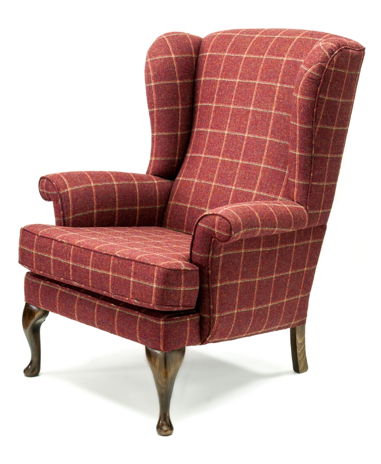 Chair shown in a stylish wool check. For more details on this chair or any others, please call in.