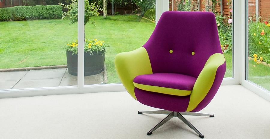 Funky 60 S Swivel Chair In Contrast Moon Fabrics Plain Wool