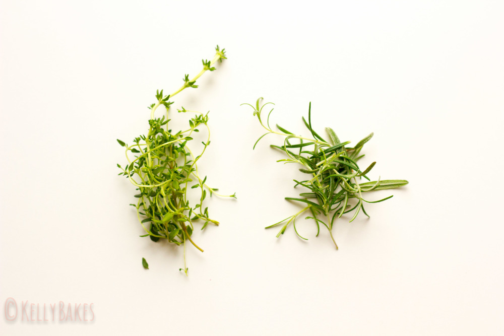 thyme and rosemary, respectively