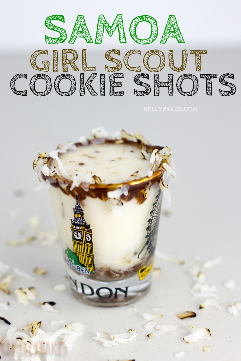 Samoa Girl Scout Cookie Shots by @kellybakes