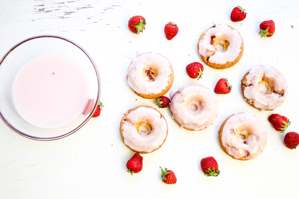 Strawberry Rhubarb Donuts