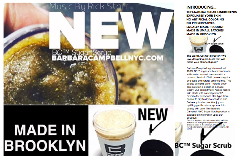 Barbara Campbell™ 100% Natural Brooklyn Sugar Scrub Face Cleanser Product Information Made In Brooklyn