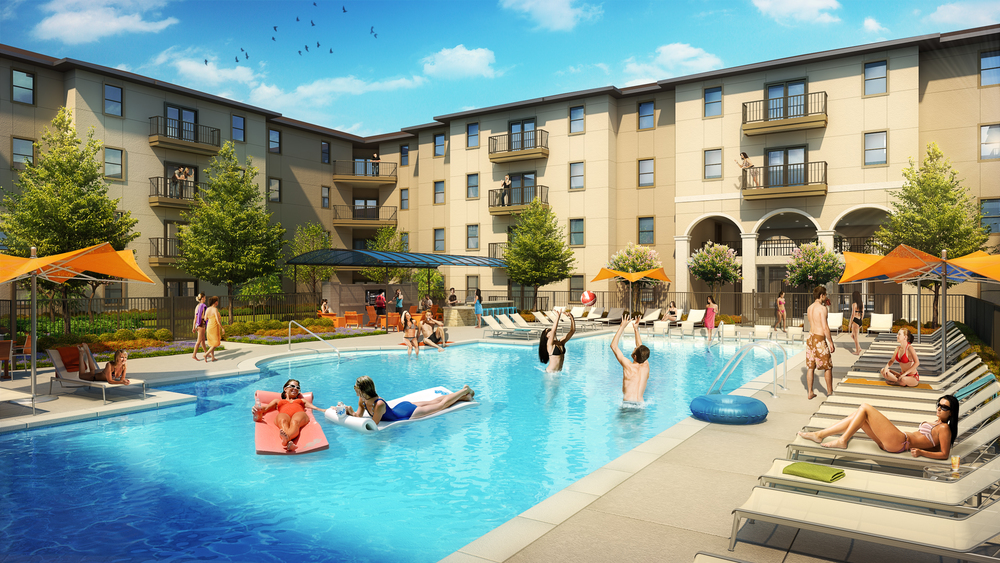 COURTYARD POOL  rendering by cagleart.com