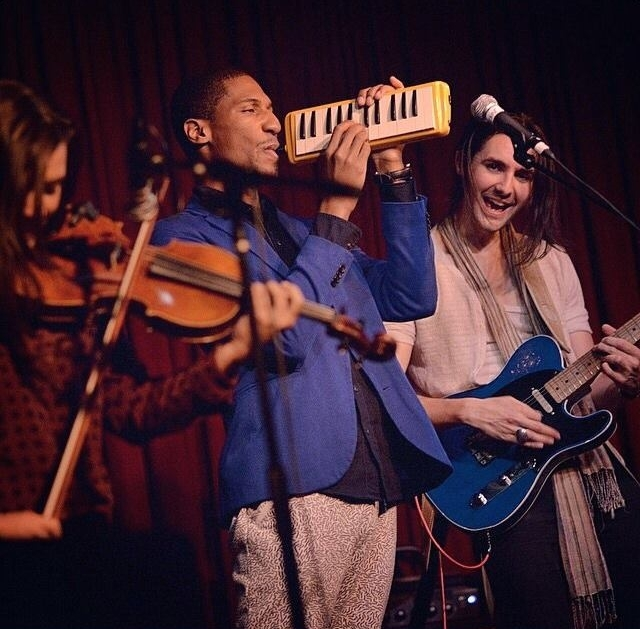 Nora Germain, Jon Batiste and Zane Carney at Hotel Cafe. 2014.