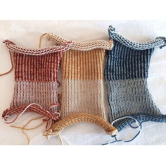 Color swatches for an upcoming project we're so excited about! Left to right - madder, onion skins, indigo. #naturaldye