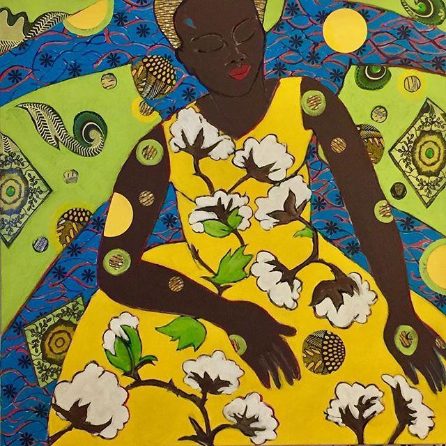 "Cotton Dress Revisited 2017, 30"" x 30"", acrylic + collage || Art by Janet Taylor Pickett of @jpickett813 || Artist + retired college professor of art || Pasadena, CA"