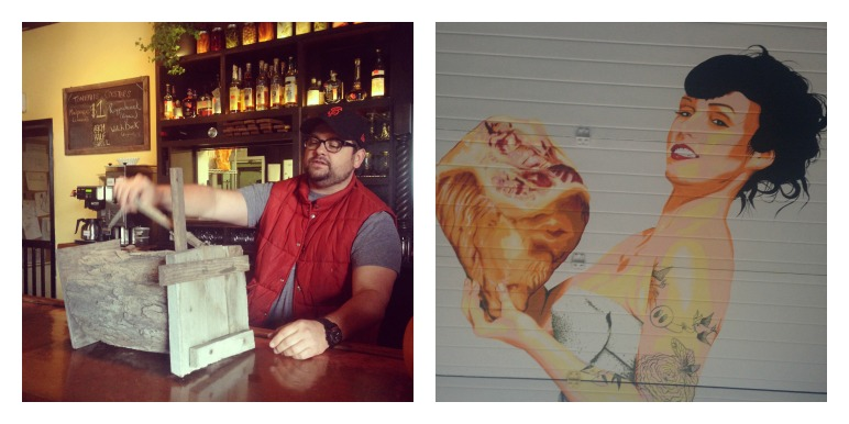 Chef Mike Moore with his grandaddy's rabbit box and the tattooed meat temptress painted on the wall at Seven Sows
