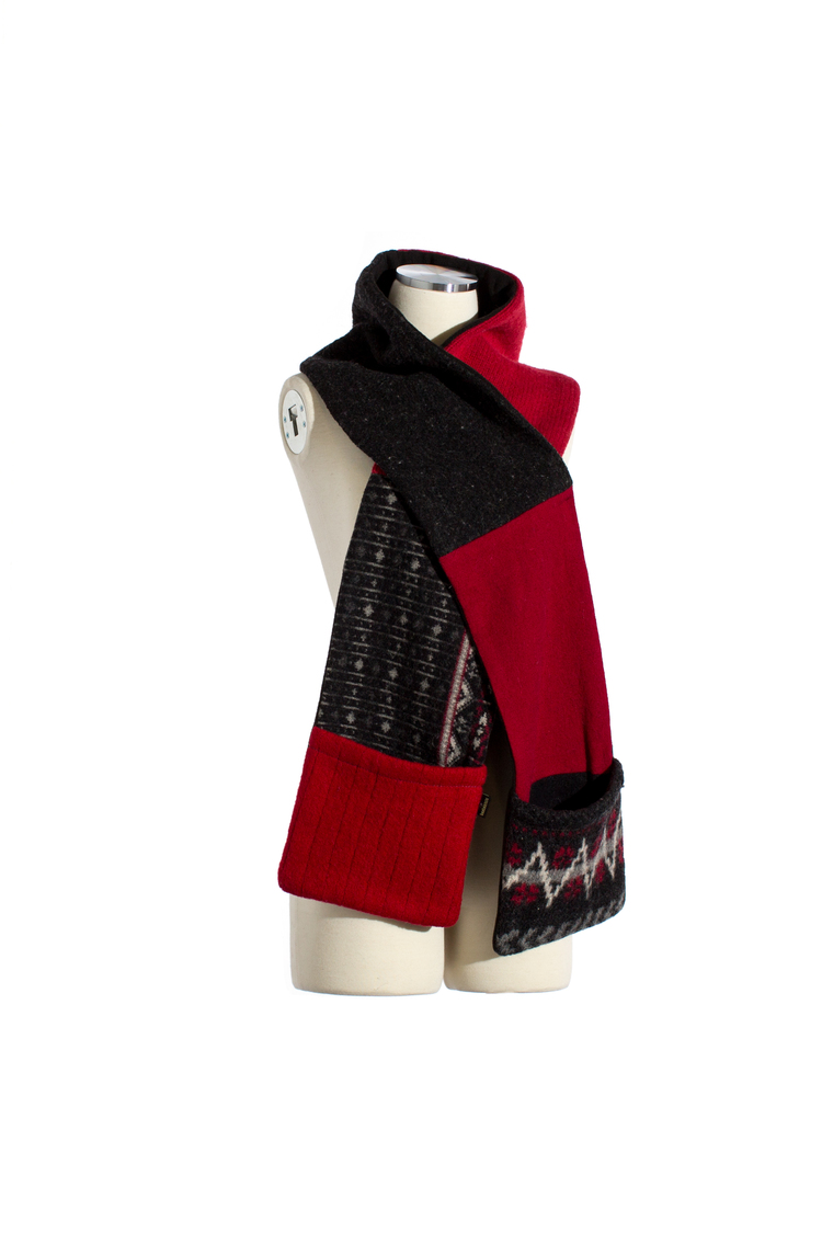 Women's Winter Pocket Scarf in Red, Black & Grey