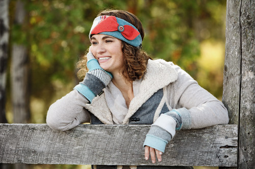 Women's Wool Headband in Bright Women's Fingerless Gloves in Denim