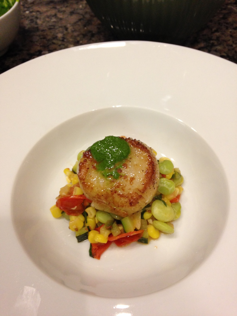 Seared Scallops with Succotash and Parsley Pesto