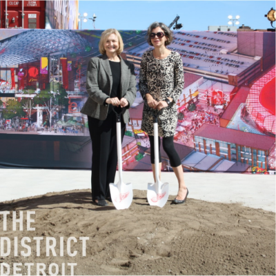 Architect Jennifer Carpenter (right) and graphic designer Tracy Turner designed the overwhelmingly sucessful Detroit District Preview Center, which is helping to promote this 50 block mixed use redevelopment. The new arena for the Detroit Red Wings is one major feature.
