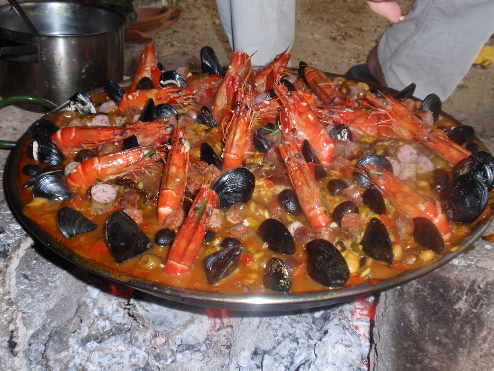 """Bunny's"" Paella cooked over wood in the Luberon"