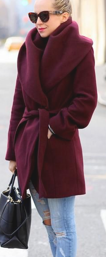 Great coat in luscious burgundy, great with jeans but also imagine it over grey flannel.