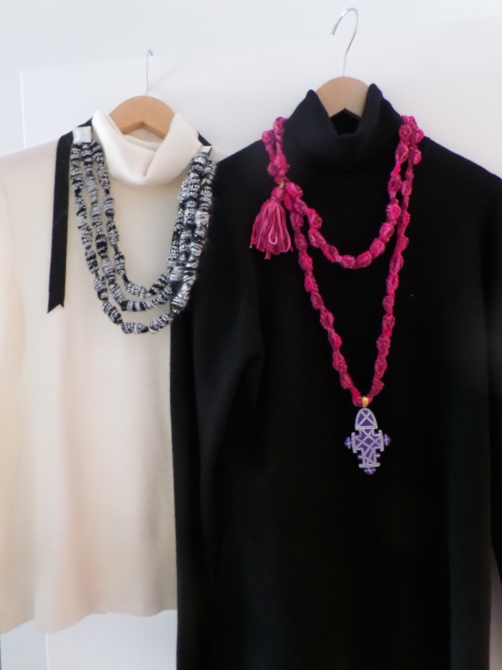 Close ups of our wonderful hand-crocheted knit necklaces.