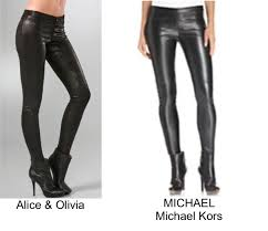 Basic black stretch leather leggings