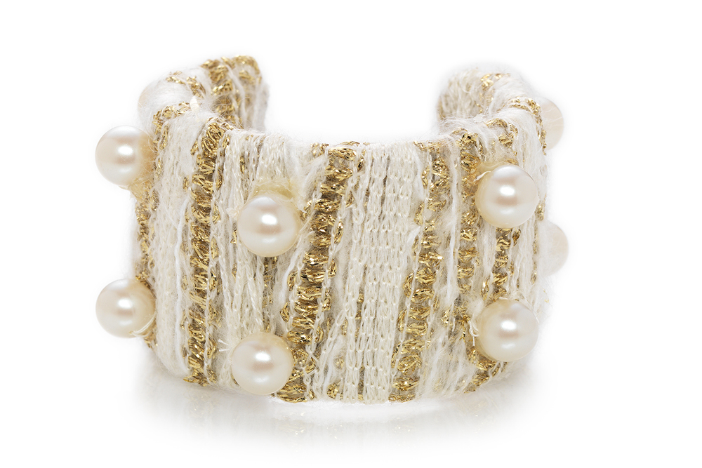 "Knock-out Pearl & Knit ""Coco"" cuff"