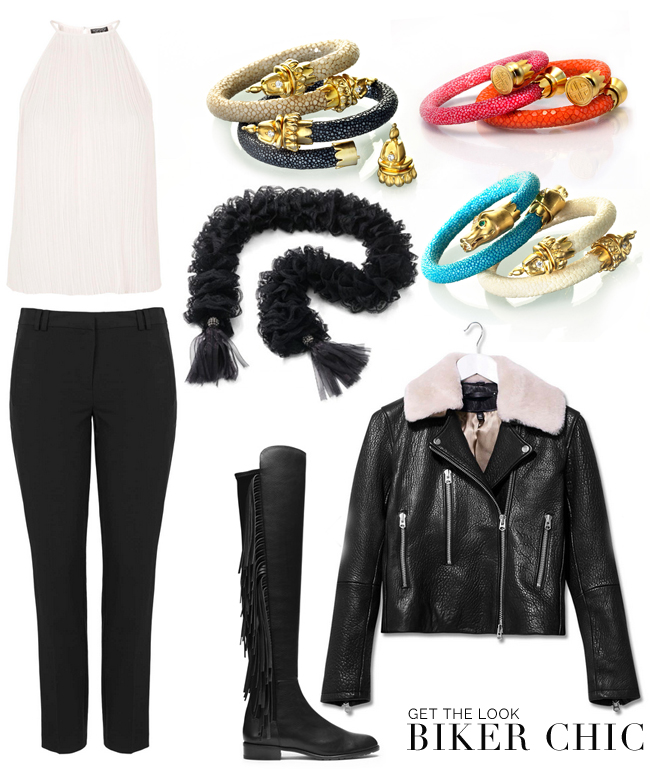 [  white pleaded top  |  black cigarette pants  |  BuDhaGirl Stingray wrist wrap collection  |  BuDhaGirl Lace Lariat  |  Fringe over-the-knee boots  |  leather moto jacket  ]
