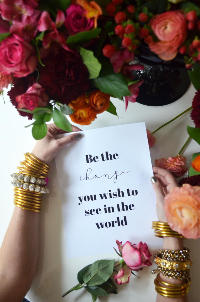 This beautiful quote by Mahatma Gandhi deeply resonates with us and what we are trying to do here at BuDhaGirl.  We believe fashion can be a vehicle that promotes introspection, focus and can help us set intentions so we can be better humans. We believe we are doing our part in helping to heal the world. [Gold All Weather Bangles | Rajasthani Friendship bracelets | Crystal Wrap Bracelet | Nine Crystal Bangle]   [Photo by Albertina Cisneros]