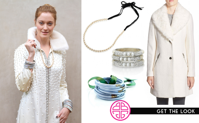 [ Pearl necklace  |  pearl bangles  |  silver all weather bangles  |  white coat (similar) ]