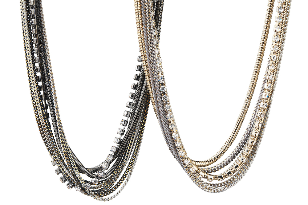 Strand Necklace #9 in hematite or gold mix