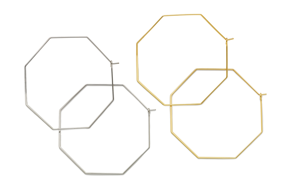 [Octagon Earrings in Silver and Gold]