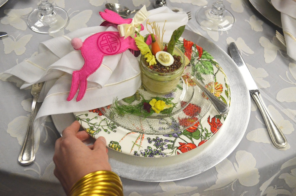 A butterfly tablecloth, floral porcelain and a vegetable-studded dish makes for a festive lunch!