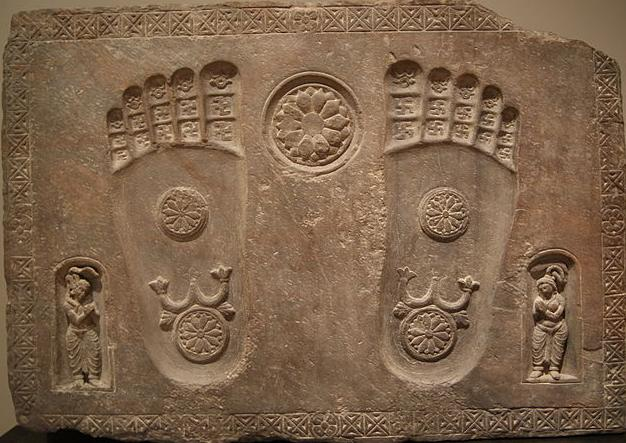 Aniconic representation of Buddha's footprints