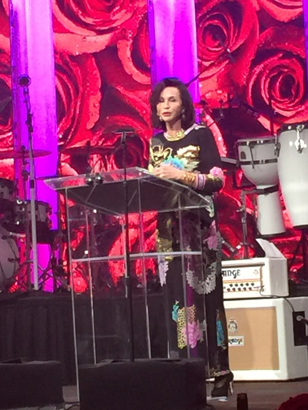 Peppita Serrano was an Honoree at the event and is the Founder of  Sivam . Here she is at the podium wearing her BuDhaGirl All Weather Bangles.
