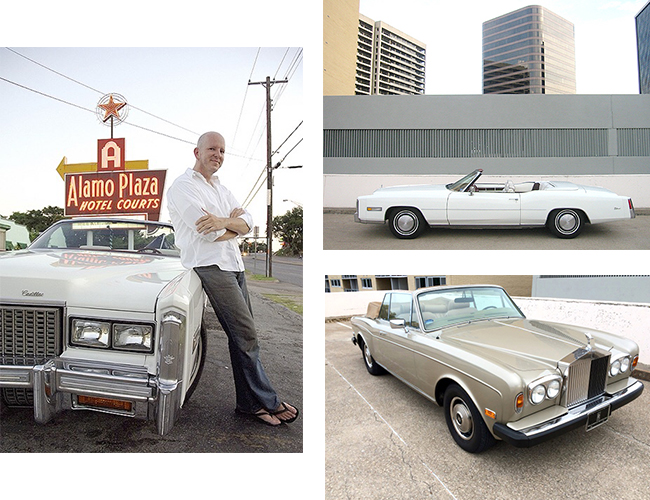 Left and Right top: I kept Dad's favorite Cadillac with me in Dallas for about five years, before returning it to Kentucky where my mom and brother - and his now-big family - are.Right bottom: One of my vintage cars, kept immaculately clean.