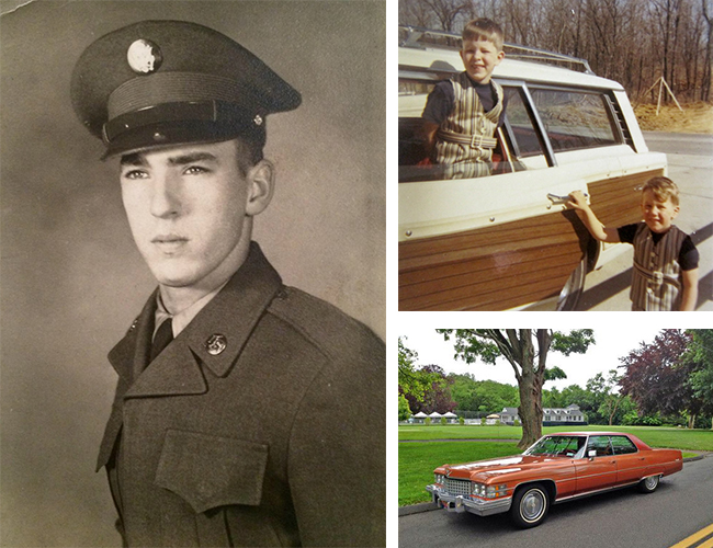 Left: I wonder if my dad learned how to clean and care for things while he was in the Army. Right Top: Me, left, and my brother David and the family wagon, a 1967 Ford Country Squire. I guarantee we had time to take this photo because Dad was cleaning the windshield. Right bottom: The near-twin to Dad's second favorite Cadillac, a 1974 Sedan de Ville. We did family road trips all over the country in that car. I sat in the back, on the right. Such happy memories...