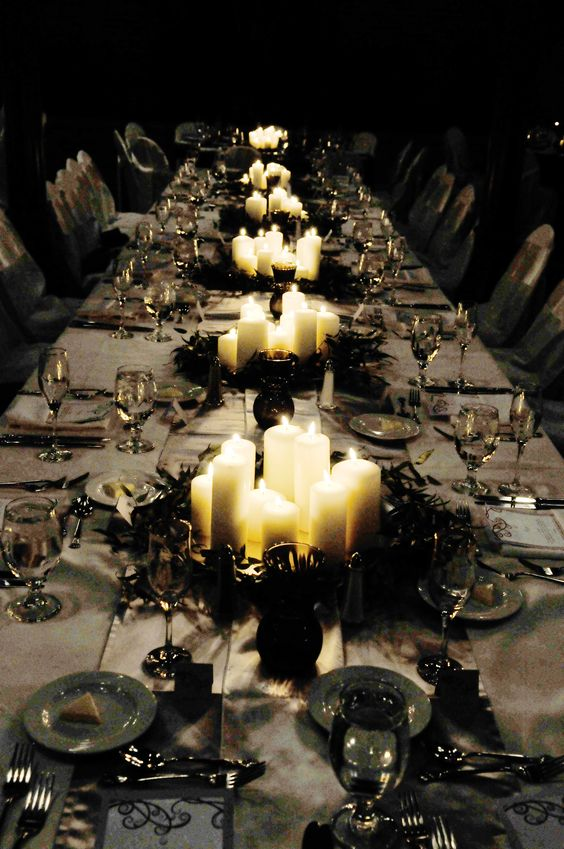 Moody lighting is essential for a Halloween bash - plan your candle groupings accordingly.