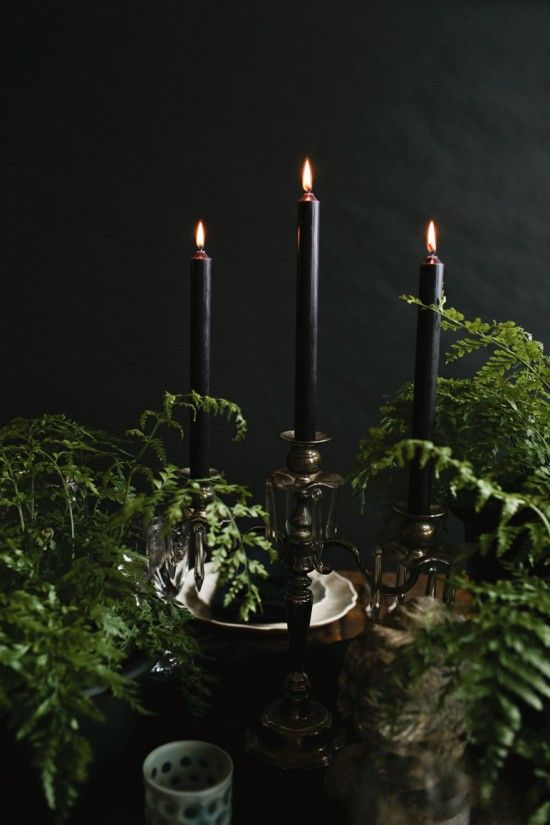 You can never go wrong with something simple, such as the pairing of black candles with lush ferns.