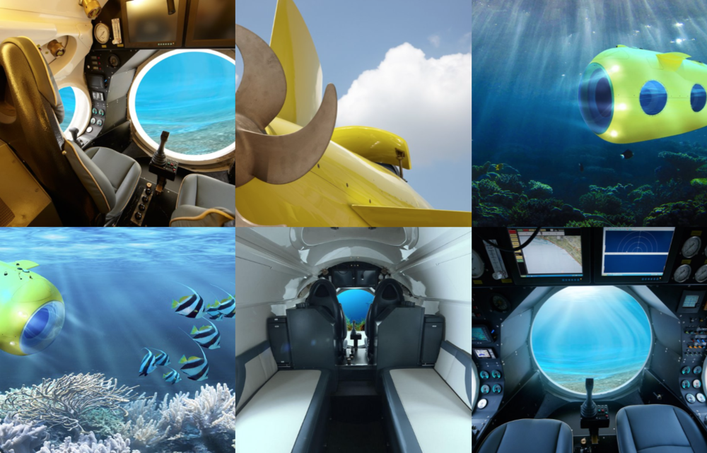 Explore the ocean with  Y.Co's Yellow Submarine . This mini submarine can take 4-5 passengers to depths of 525ft beneath the surface of the ocean.