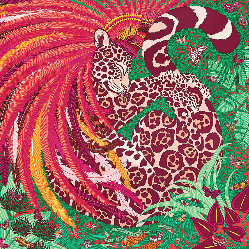 You can never go wrong with an Hermès silk twill scarf. This  Jaguar Quetzal  design was inspired by the 'jaguar warriors' of the Aztec army and the 'penacho' headdress that once belonged to the great Aztec ruler of the 16th century.