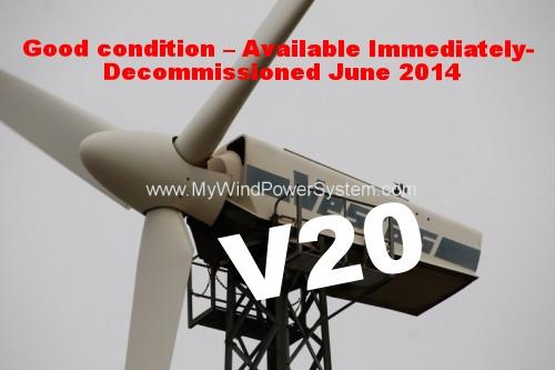 One Vestas V20 – 100kW (50Hz) Wind Turbine For Sale