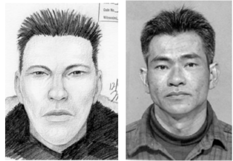 Sketch (left) drawn in the Compositure® technique by Gil Zamora, 2000.  Image of identified suspect for comparison.
