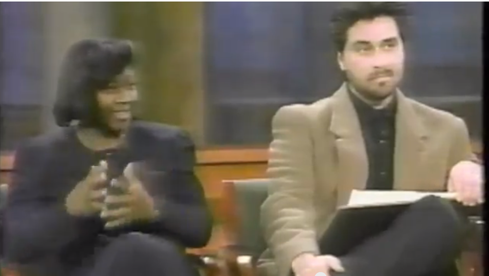 Here I am on the Oprah Winfrey Show in 1997. We're talking with Oprah about the sketch I drew of a man who came on the set and posed as a robber.