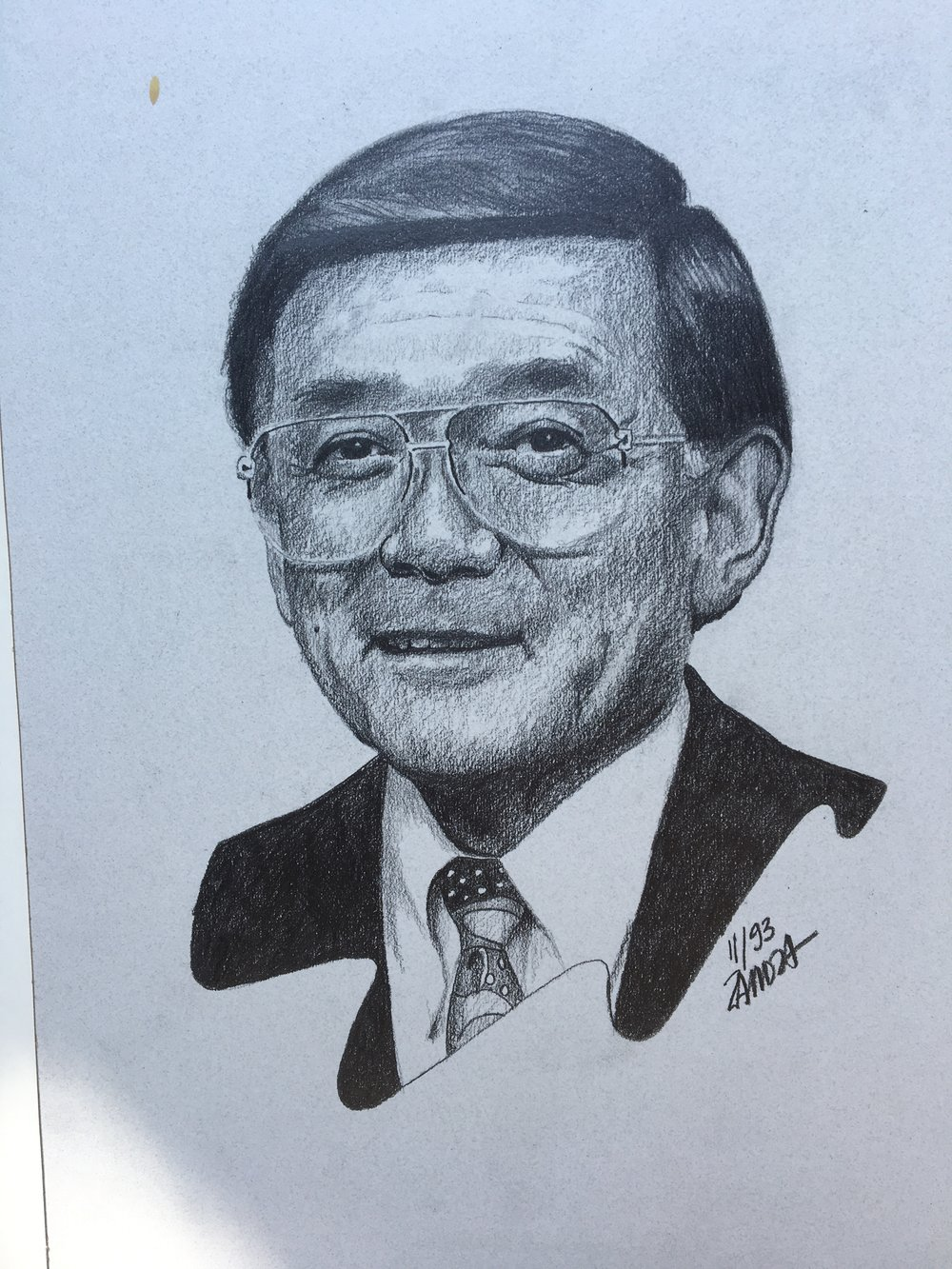 "Zamora, Gil.  Norman Y. Mineta, Mayor of San Jose . 1993. Graphite on gray paper, 13"" x 18"". Private collection."