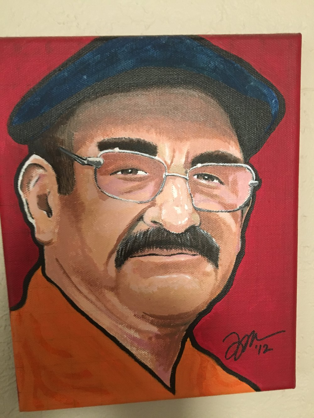 "Zamora, Gil. Chente with cap. 2012. Arylic on canvas, 8"" x 12"". Private collection."