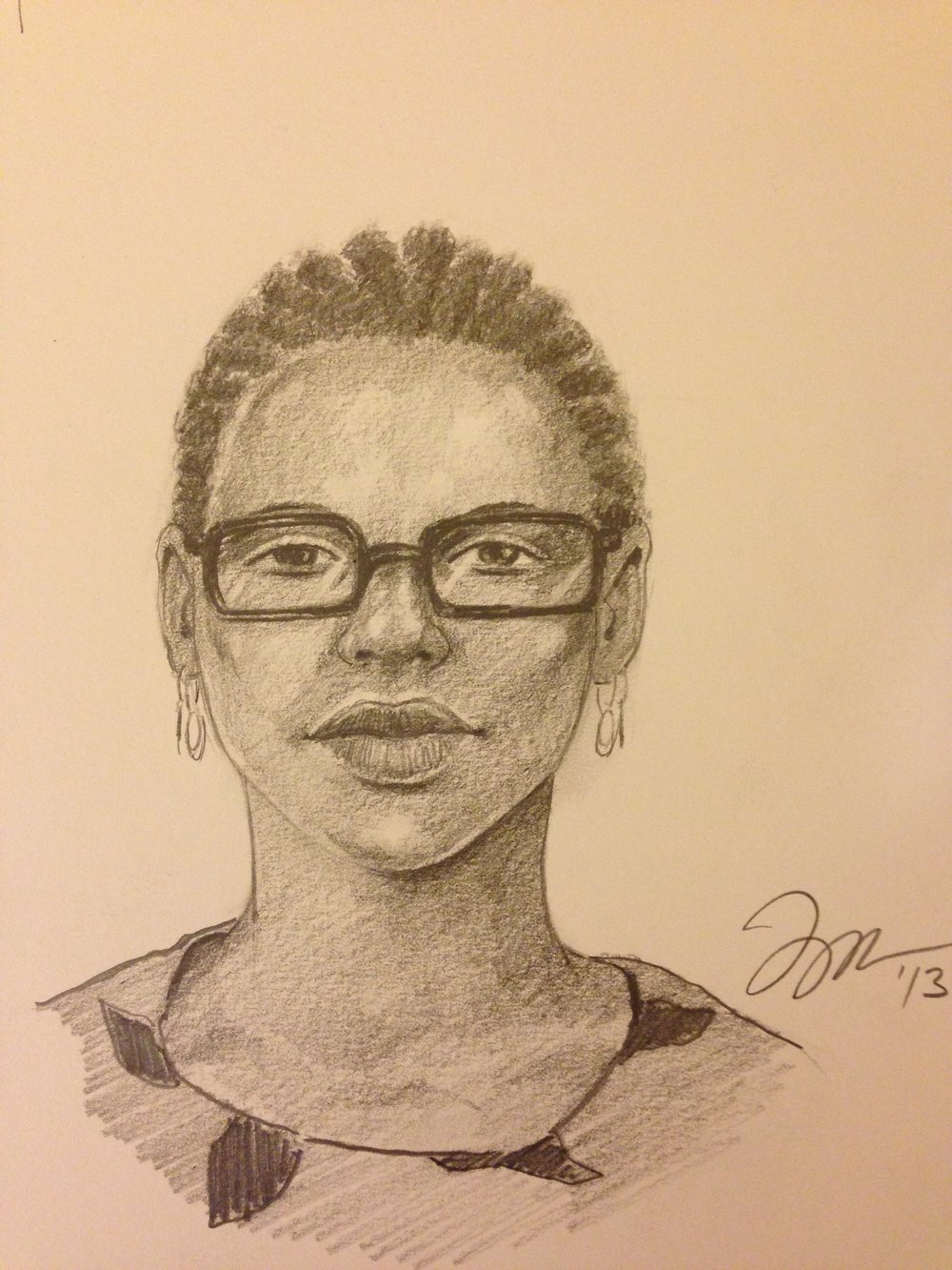 "Zamora, Gil.  Perspective Sketch: Lady with glasses . 2013. Graphite on paper, 11"" x 14"". Private collection."