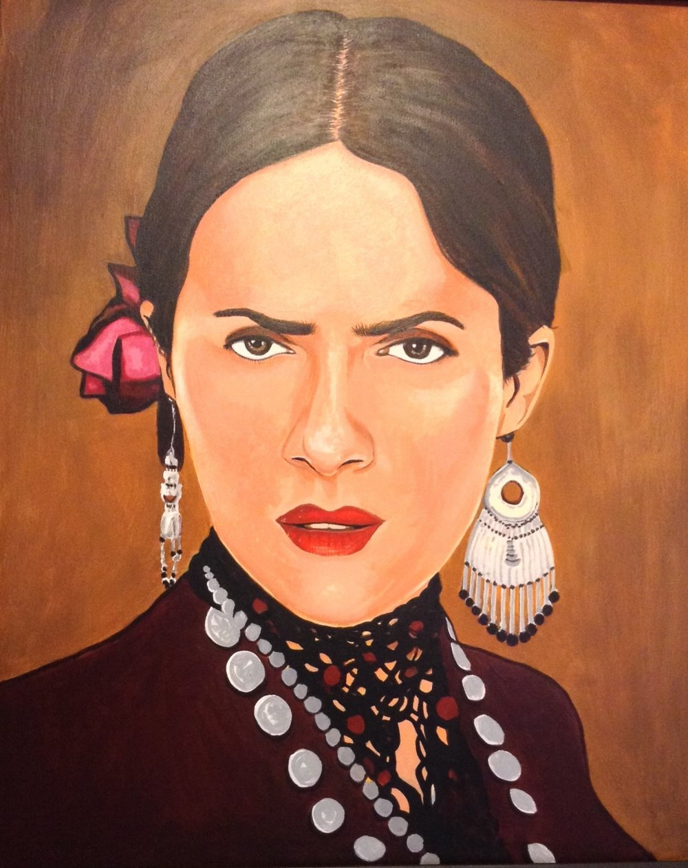 "Zamora, Gil.  Salma as Freda.  2010. Acrylic on canvas, 18"" x 24"". Private collection."